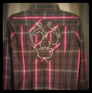 NEW Ladies Iron Fist Girls Skull Snap Top XL